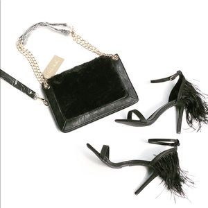 Beautiful Black Faux Fur Handbag Gold Hardware